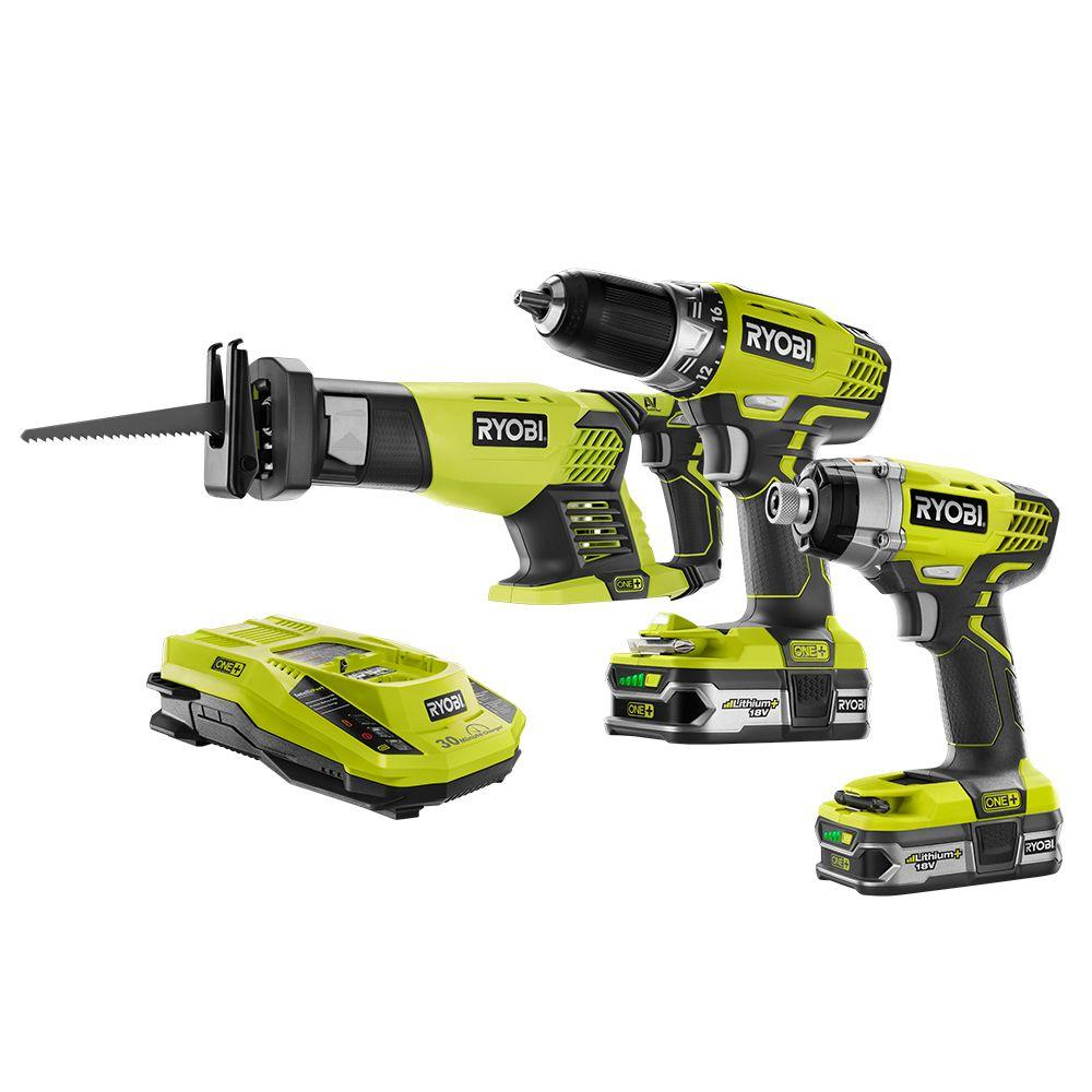 ryobi 18 volt one lithium ion cordless combo kit 3 tool p1873 the home depot. Black Bedroom Furniture Sets. Home Design Ideas