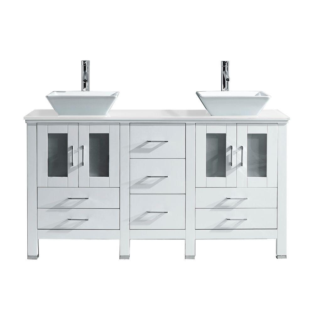Virtu USA Bradford 60 in. W Bath Vanity in White with Stone Vanity ...