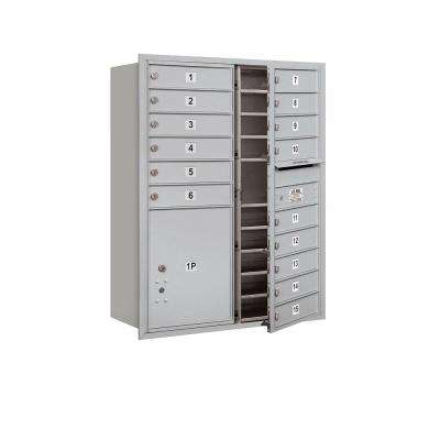 41 in. H x 31-1/8 in. W Aluminum Front Loading 4C Horizontal Mailbox with 15 MB1 Doors/1 PL5