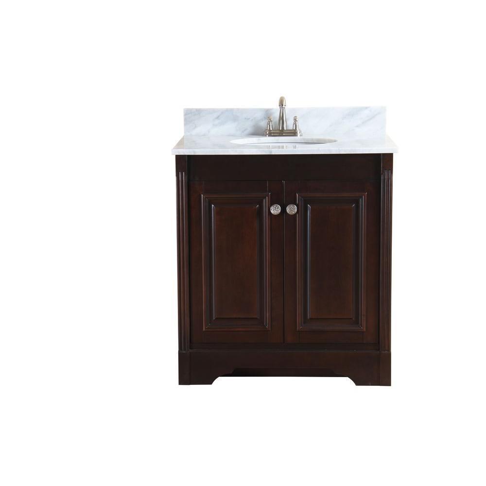 Virtu USA Austen 31 in. Single Basin Vanity in Dark Walnut with Marble Vanity Top in Italian Carrera White-DISCONTINUED