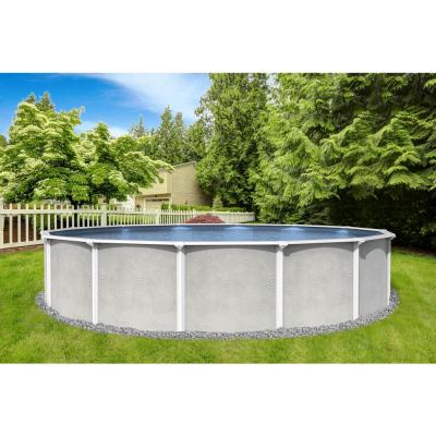 Maldives 15 ft. Round 52 in. D x 6 in. Top Rail Hard Sided Swimming Pool Package