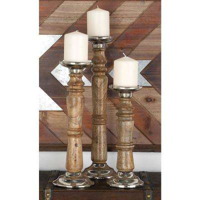 Silver Aluminum and Oak Brown Turned Wood Style Post Candle Holders (Set of 3)