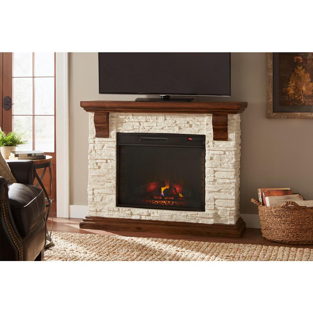 Home Decorators Collection Highland 50 In Media Console With Faux Stone Electric Fireplace Tv Stand Rustic White
