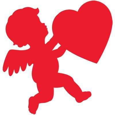 11 in. Valentine's Day Red Paper Cupid Cutout (17-Pack)