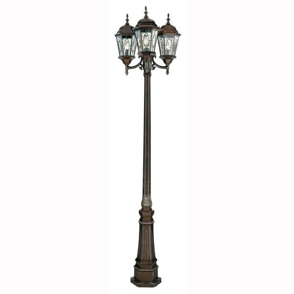 Cameo 3-Light Brown Outdoor Lamp Post with Water Glass