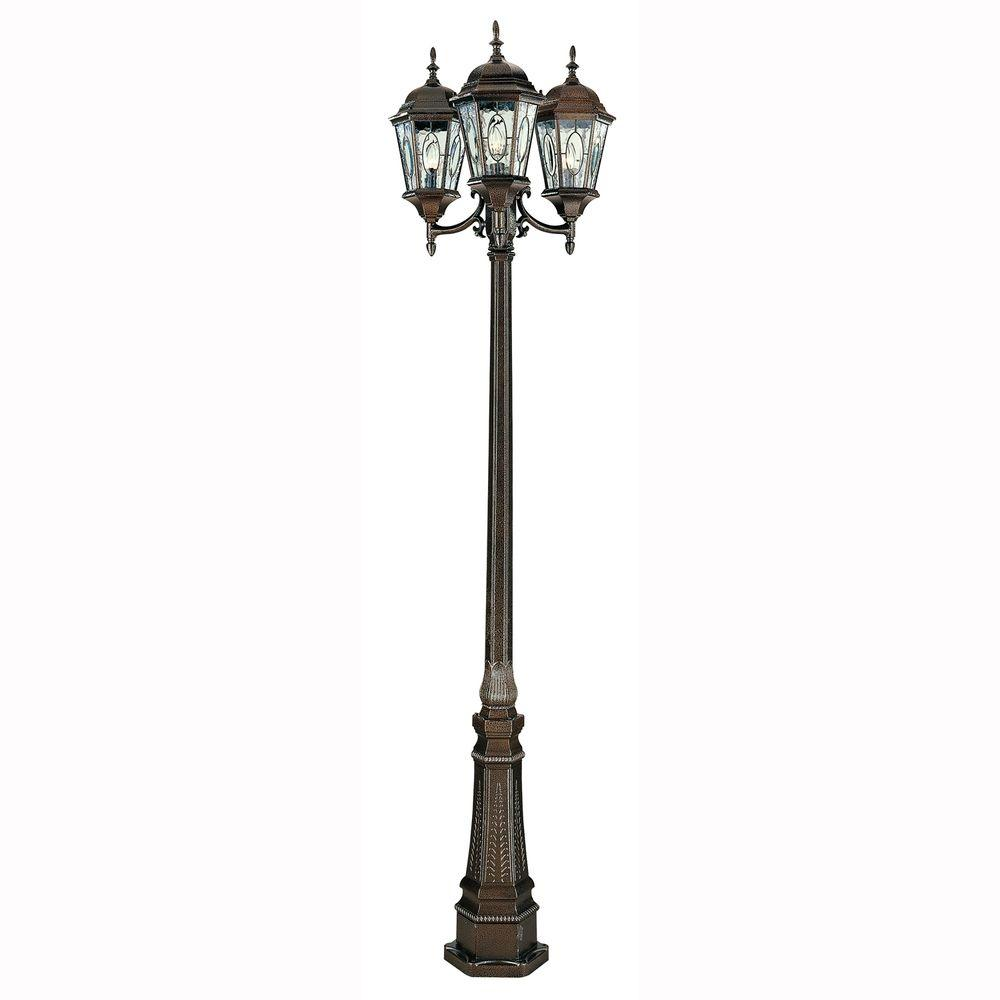 Bel Air Lighting Cameo 3 Light Outdoor Brown Lamp Post With Water Gl