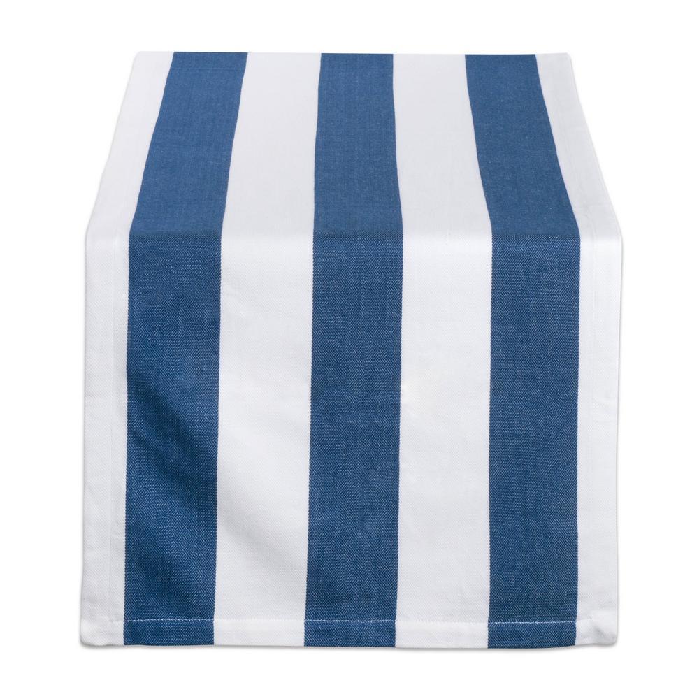 Navy Dobby Stripe Cotton Table Runner