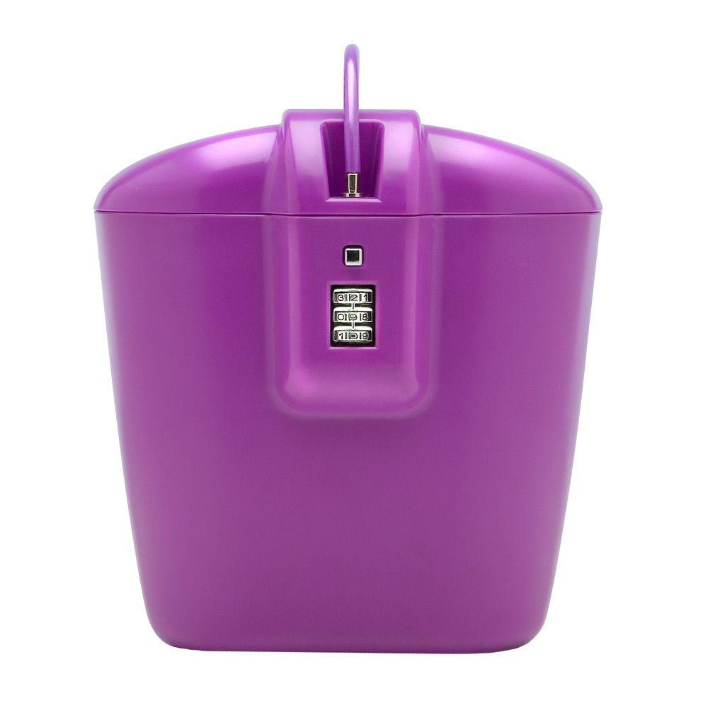Vacation Vault Portable Lightweight Travel Safe with Three Dial Combination Lock, Purple