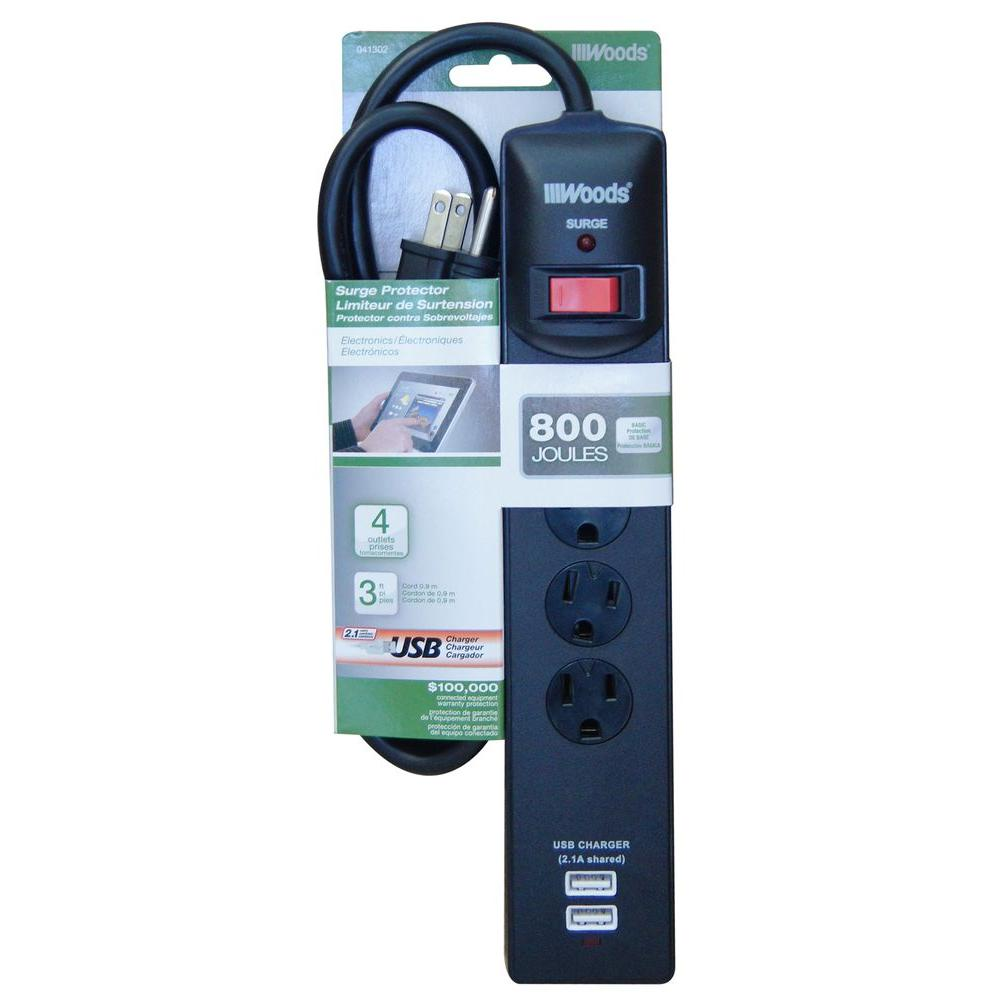 4-Outlet 800-Joule Surge Protector with USB Charger - Black