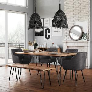 Amazing Simpli Home 6 Piece Distressed Charcoal Dining Set With Machost Co Dining Chair Design Ideas Machostcouk