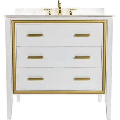 Skylar 36 in. W x 22.25 in. D Bath Vanity in White with Granite Vanity Top in White with Pearl Basin