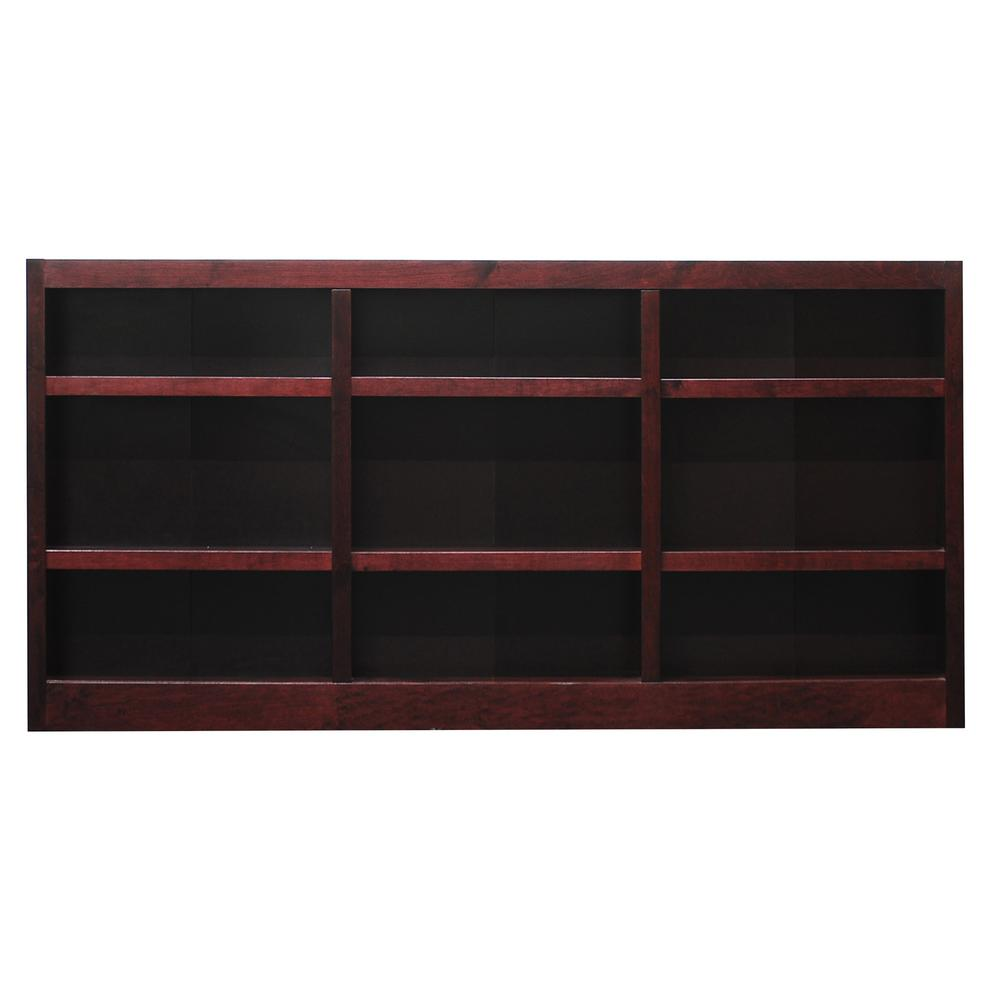 36 in. Cherry Wood 9-shelf Standard Bookcase with Adjustable Shelves