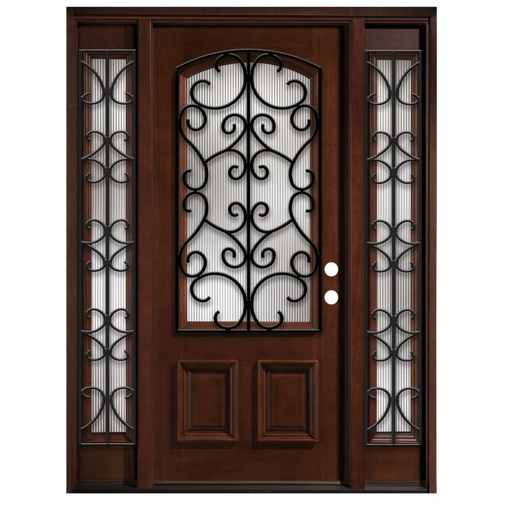 Steves & Sons 64 in. x 80 in. Iron Grille 3/4- Arch Lite Stained Mahogany Wood with Sidelites