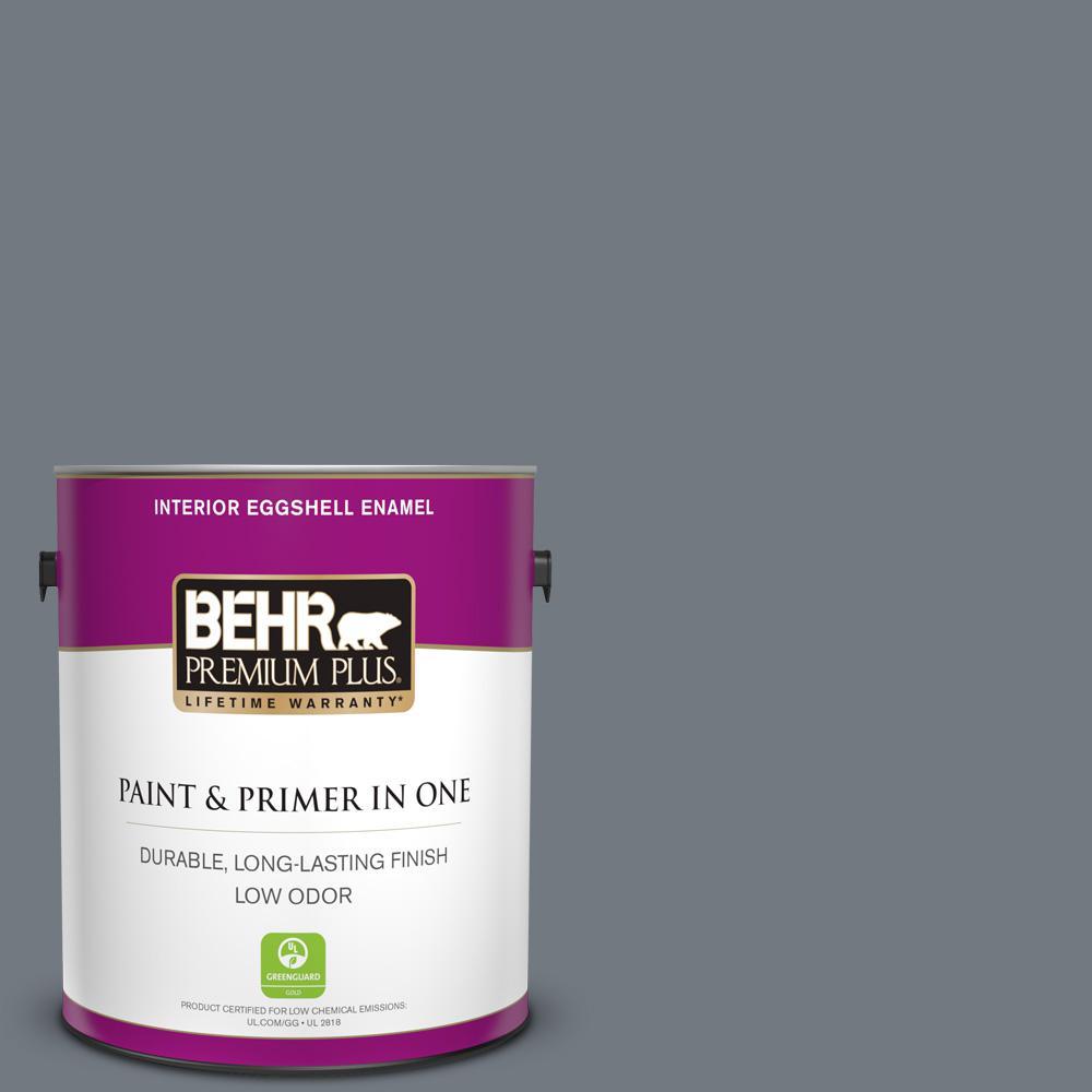 BEHR Premium Plus 1 gal. #N510-5 Liquid Mercury color Eggshell Enamel Low Odor Interior Paint and Primer in One