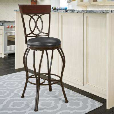 Jericho 30 in. Metal Bar Stool with Swivel Dark Brown Bonded Leather Seat