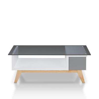 Dougray Mid-Cenutry Modern Glass Top Coffee Table in Gray