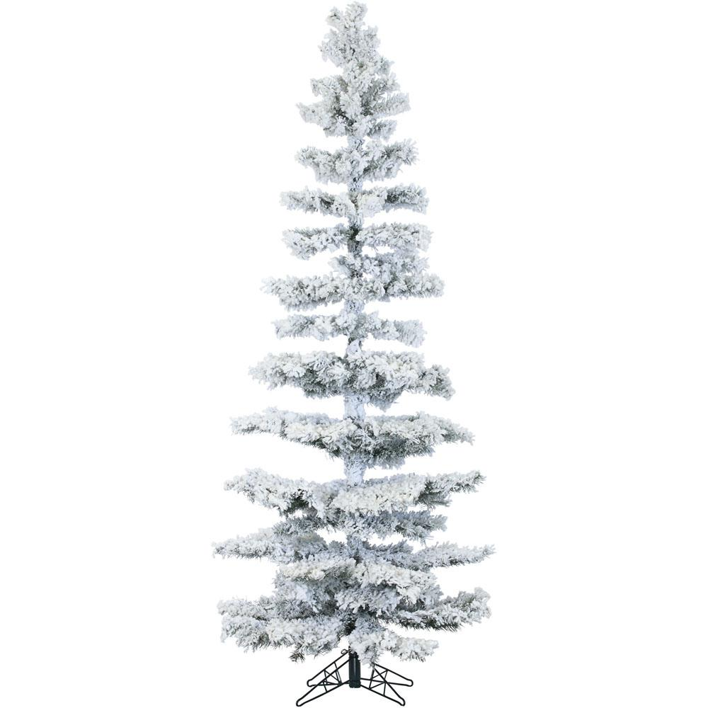 7.5 ft. Pre-lit LED Flocked Hillside Slim Pine Artificial Christmas Tree