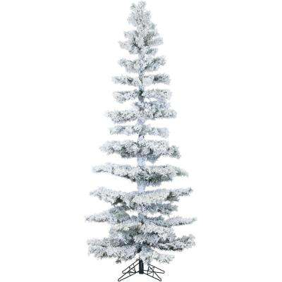 7.5 ft. Pre-lit LED Flocked Hillside Slim Pine Artificial Christmas Tree with 350 Clear String Lighting