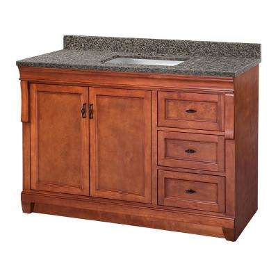 Naples 49 in. W x 22 in. D Vanity in Warm Cinnamon with Granite Vanity Top in Sircolo with White Sink