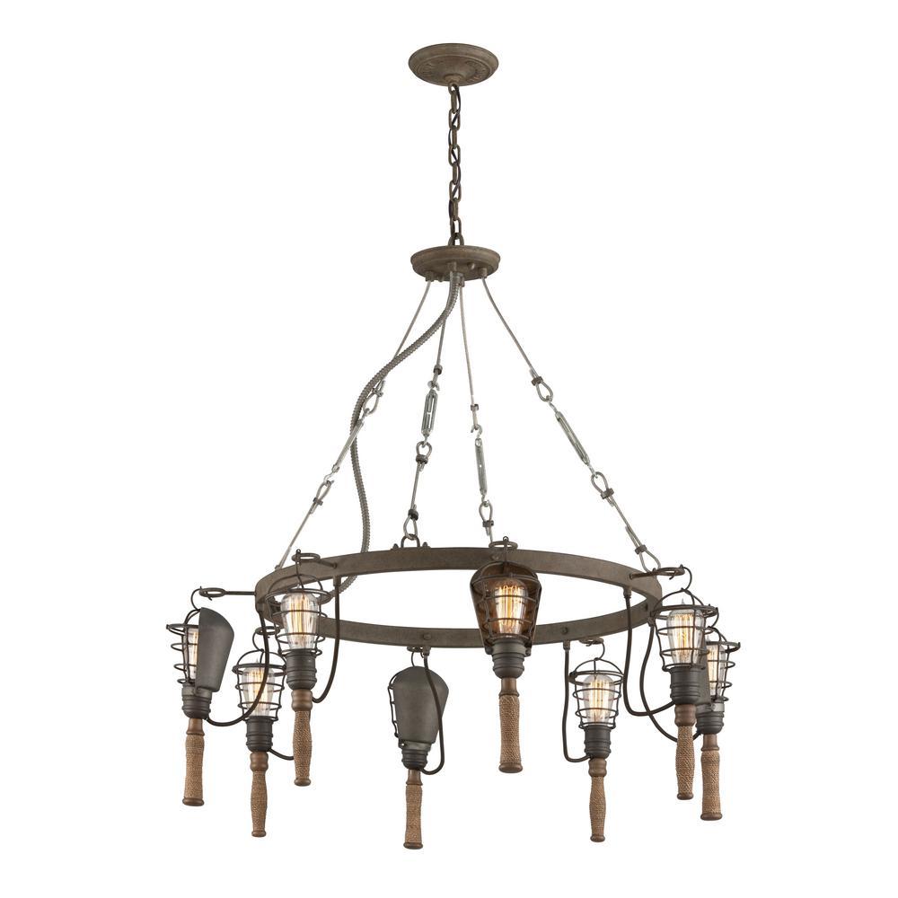 Troy Lighting Yardhouse 8 Light Rusty Galvanized With