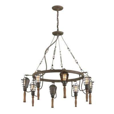 Yardhouse 8-Light Rusty Galvanized with Manila Rope and Wood Accents Pendant
