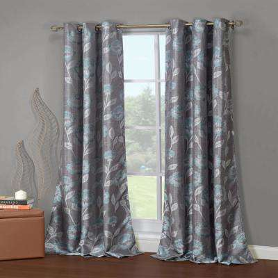 Primrose 38 in. W x 84 in. L Polyester Window Panel in Grey-Teal