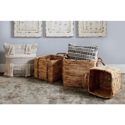 Square Seagrass and Water Hyacinth Storage Wicker Baskets with Handles (Set of 3)
