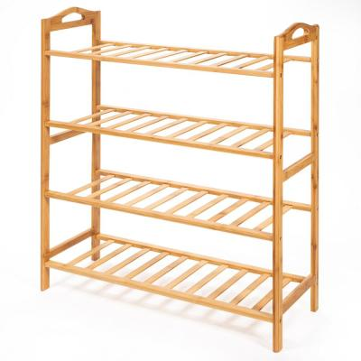 29.75 in. H x 26.5 in. W 4-Tier 16-Pair Bamboo Shoe Rack Shelf Storage Organizer in Natural Brown