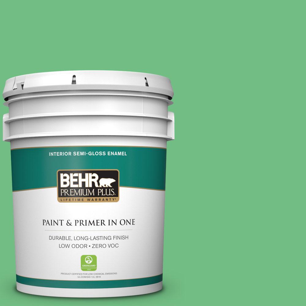 BEHR Premium Plus 5-gal. #P400-5 Winter Shamrock Semi-Gloss Enamel Interior Paint