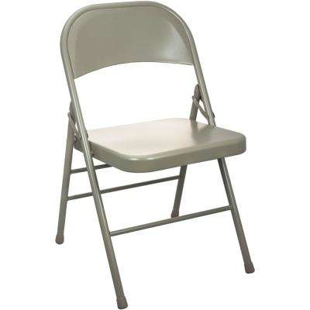 Beige Metal Folding Chair (4-Pack)