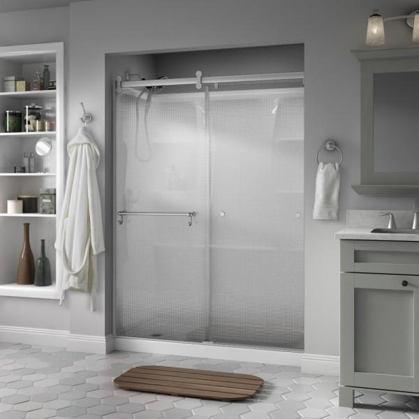 Portman 60 x 71 in. Frameless Contemporary Sliding Shower Door in Nickel with Droplet Glass