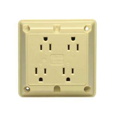 15 Amp Industrial Grade Extra Heavy Duty 4-in-1 Grounding Outlet, Ivory