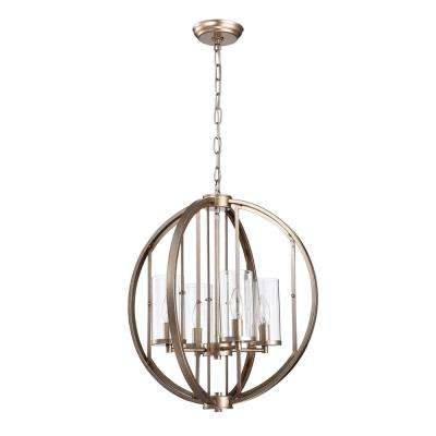 Hamabi 4-Light Light Brown Chandelier