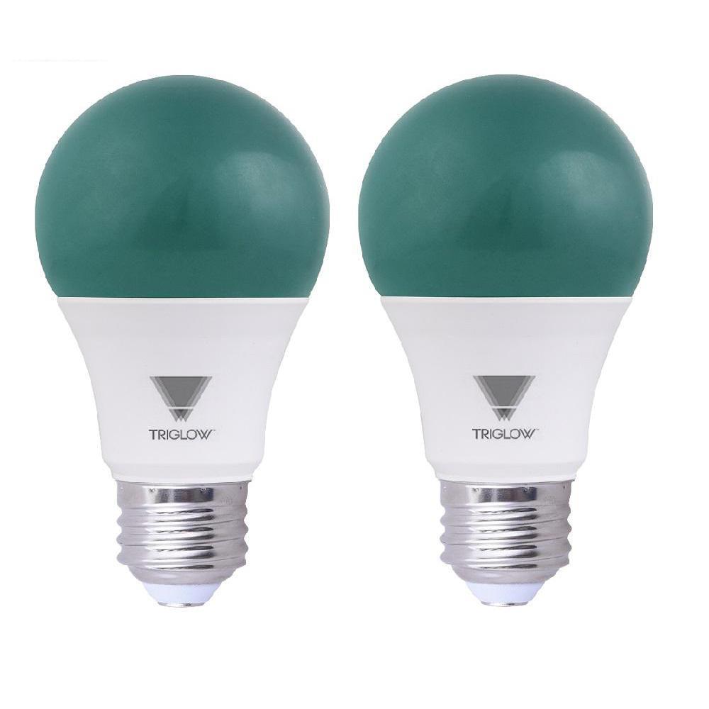 TriGlow 60-Watt Equivalent A19 Green LED Light Bulb (2-Pack)-T90953 ...