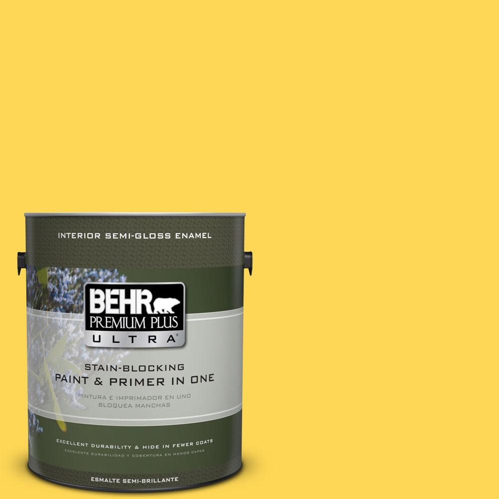 BEHR Premium Plus Ultra 1-gal. #P300-6 Buzz-In Semi-Gloss Enamel Interior Paint