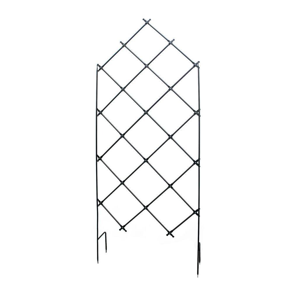 Traditional Freestanding Lattice Garden Trellis, 95 in. Tall Graphite Powder Coat Finish