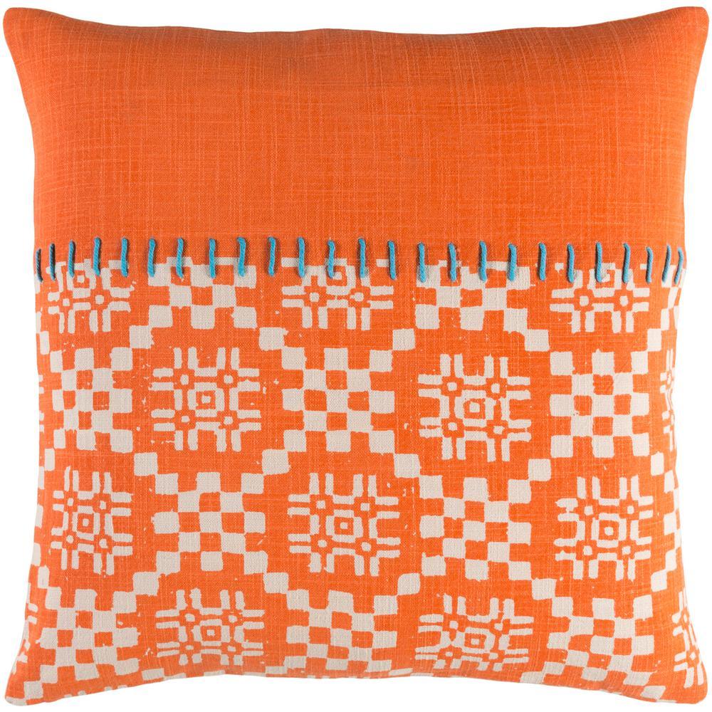 Boscobel Orange Geometric Polyester 20 in. x 20 in. Throw Pillow