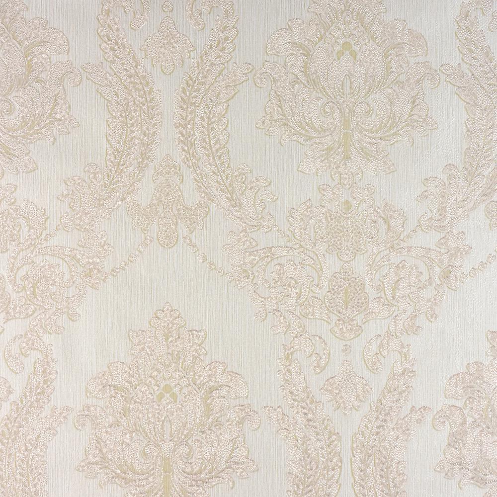 8 in. x 10 in. Maizey Cream Damask Wallpaper Sample