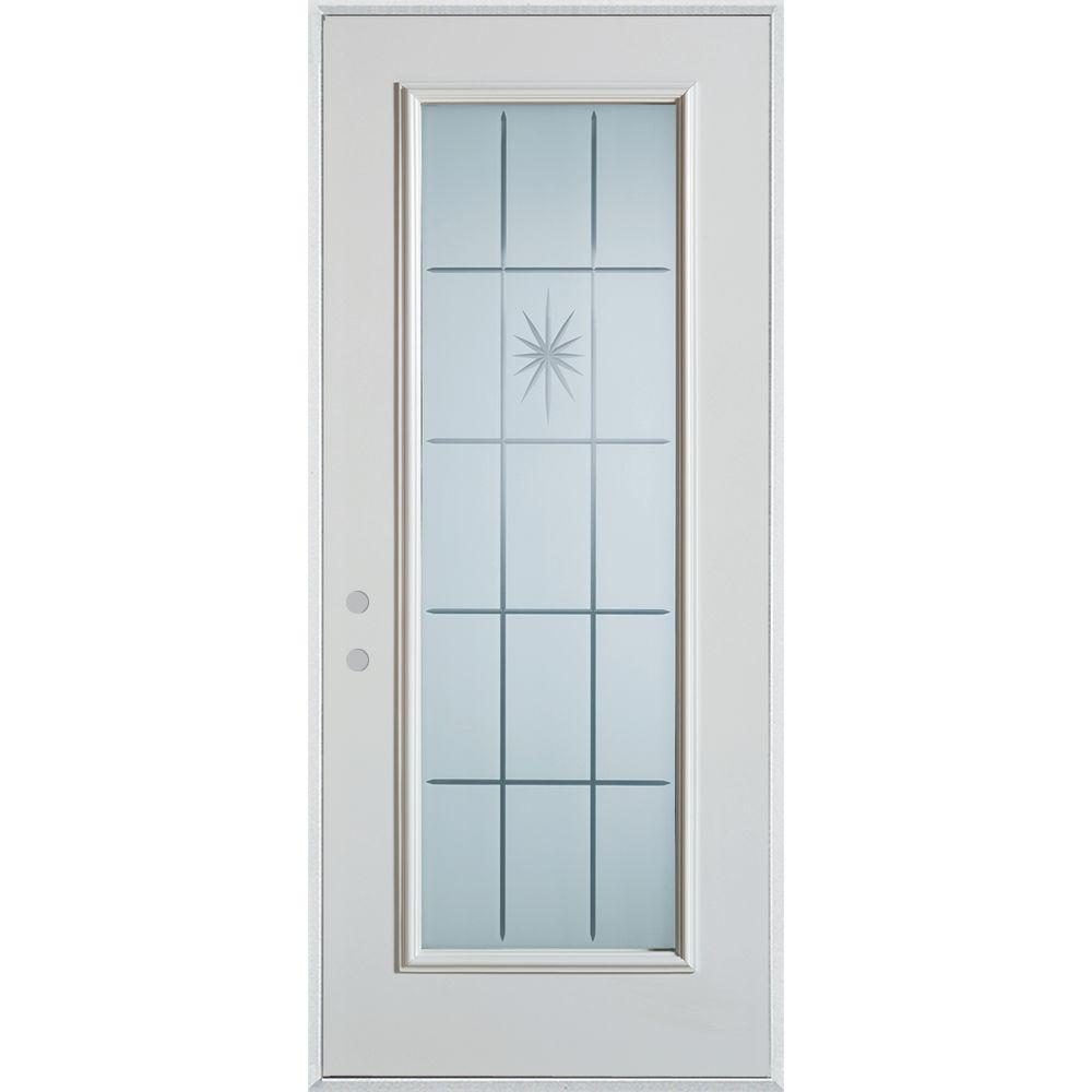 Stanley Doors 33.375 in. x 82.375 in. V-Groove Full Lite Painted White Right-Hand Inswing Steel Prehung Front Door