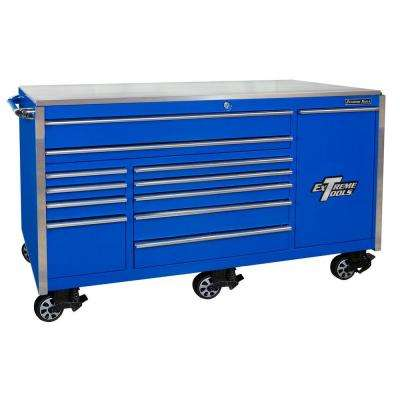 76 in. 12-Drawer Professional Roller Cabinet Includes Vertical Power Tool Drawer and Stainless Steel Work Surface, Blue