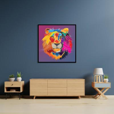 """Lion head"" by Chandler Chase Framed Canvas Wall Art"