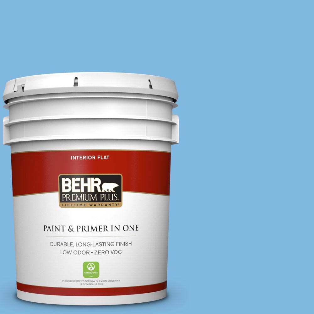 BEHR Premium Plus 5 gal. #560B-4 Enchanting Flat Zero VOC Interior Paint and Primer in One