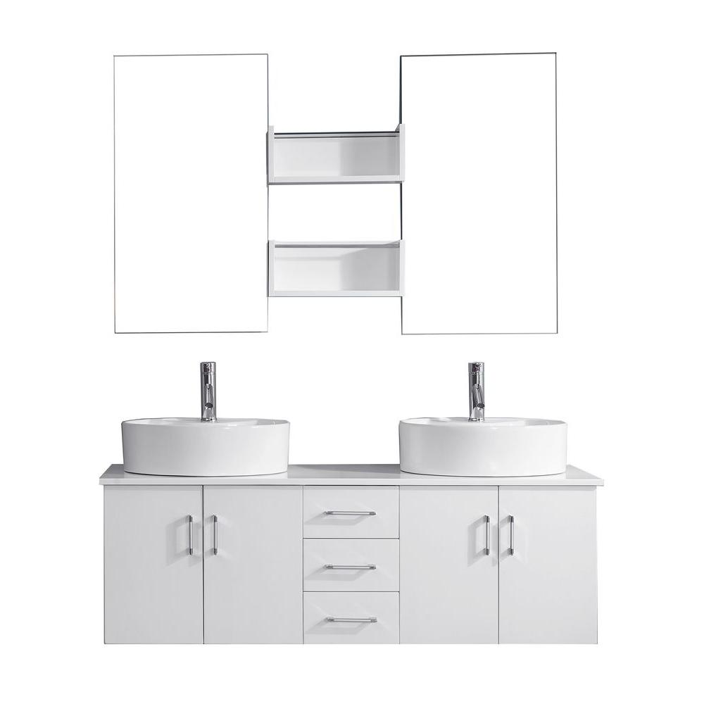 Virtu USA Enya 59.2 in. W x 21.7 in. D Vanity in White with Vanity Top in White with White Basin and Mirror