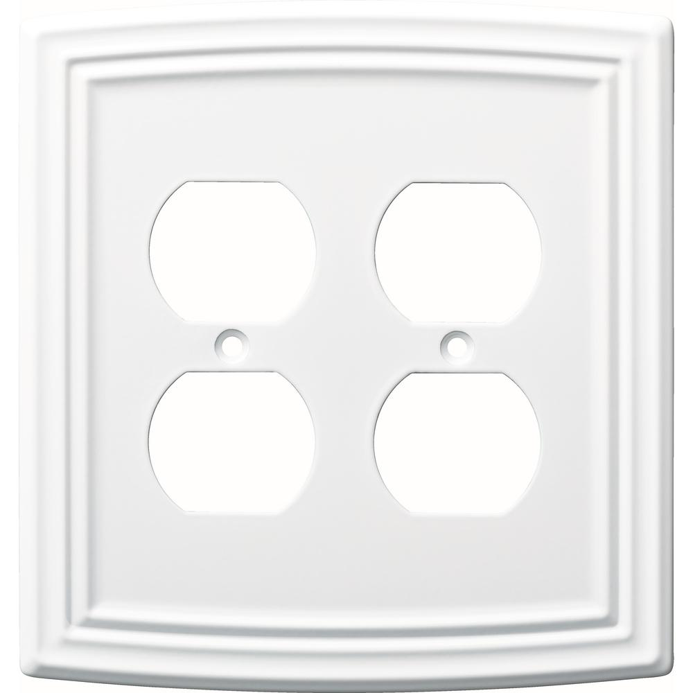 Emery Decorative Double Duplex Outlet Cover, Pure White