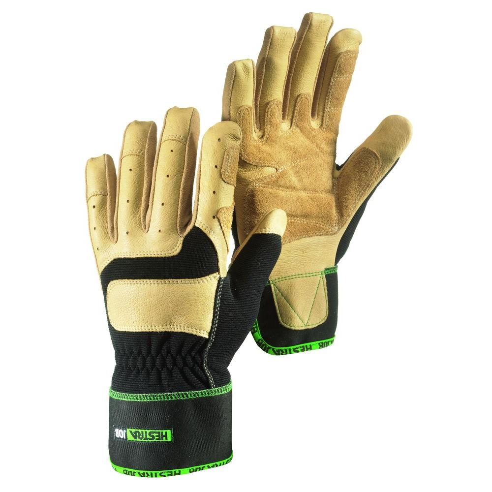 Hestra JOB Hassium Size 8 Medium Pigskin Knuckle Protection Breathable Strectch Fabric Glove in Black and Tan