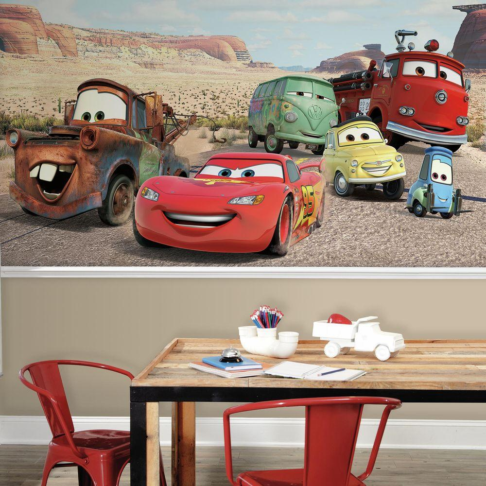 Roommates 72 in x 126 in disney cars desert xl chair rail 7 disney cars desert xl chair rail 7 panel pre pasted wall mural jl1412m the home depot amipublicfo Image collections