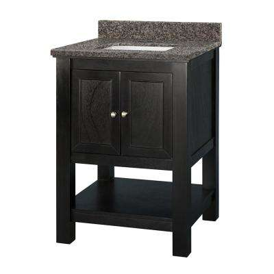 Gazette 25 in. W x 22 in. D Vanity in Espresso with Granite Vanity Top in Sircolo with White Sink