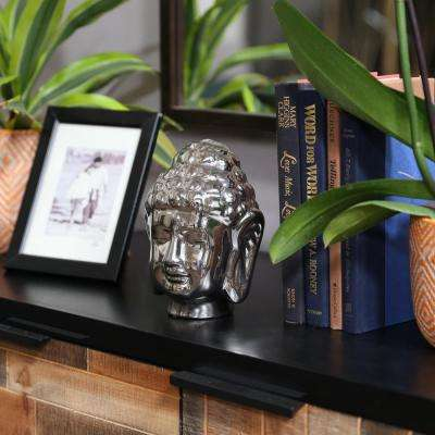 7.5 in. H Buddha Decorative Sculpture in Gray Polished Chrome Finish