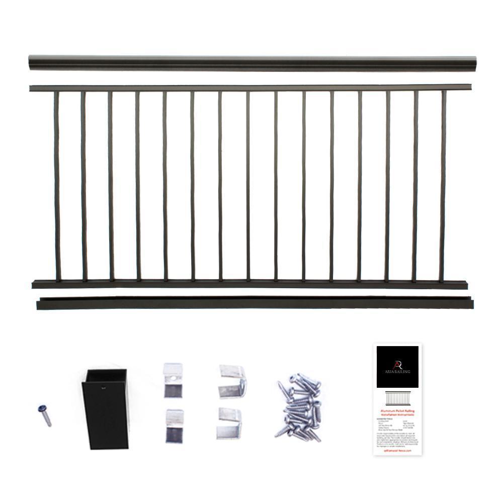 36 in. x 6 ft. Black Powder Coated Aluminum Preassembled Deck Railing