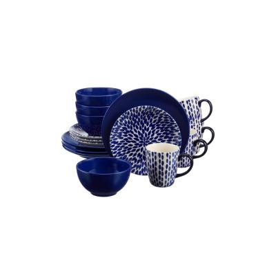 Rosaline 16-Piece Hand-Decorated Twilight Blue Stoneware Dinnerware Set (Service for 4)